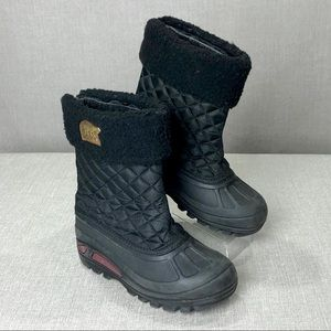 SOREL Kids Powder Storm Black Quilted Lined Boots
